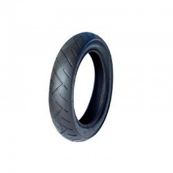 Tire for High Trek equipped with bicycle type metal spoked wheels.